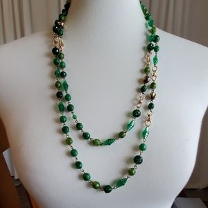 Gold Toned and Green Beaded Necklace